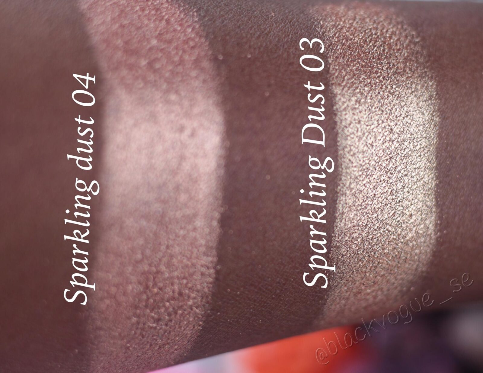 Inglot sparkling dust swatches