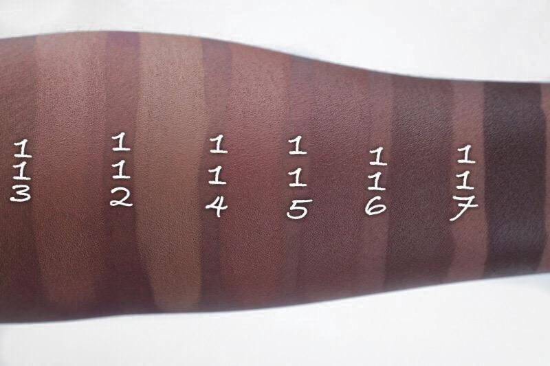 Swatches of a few of their shades